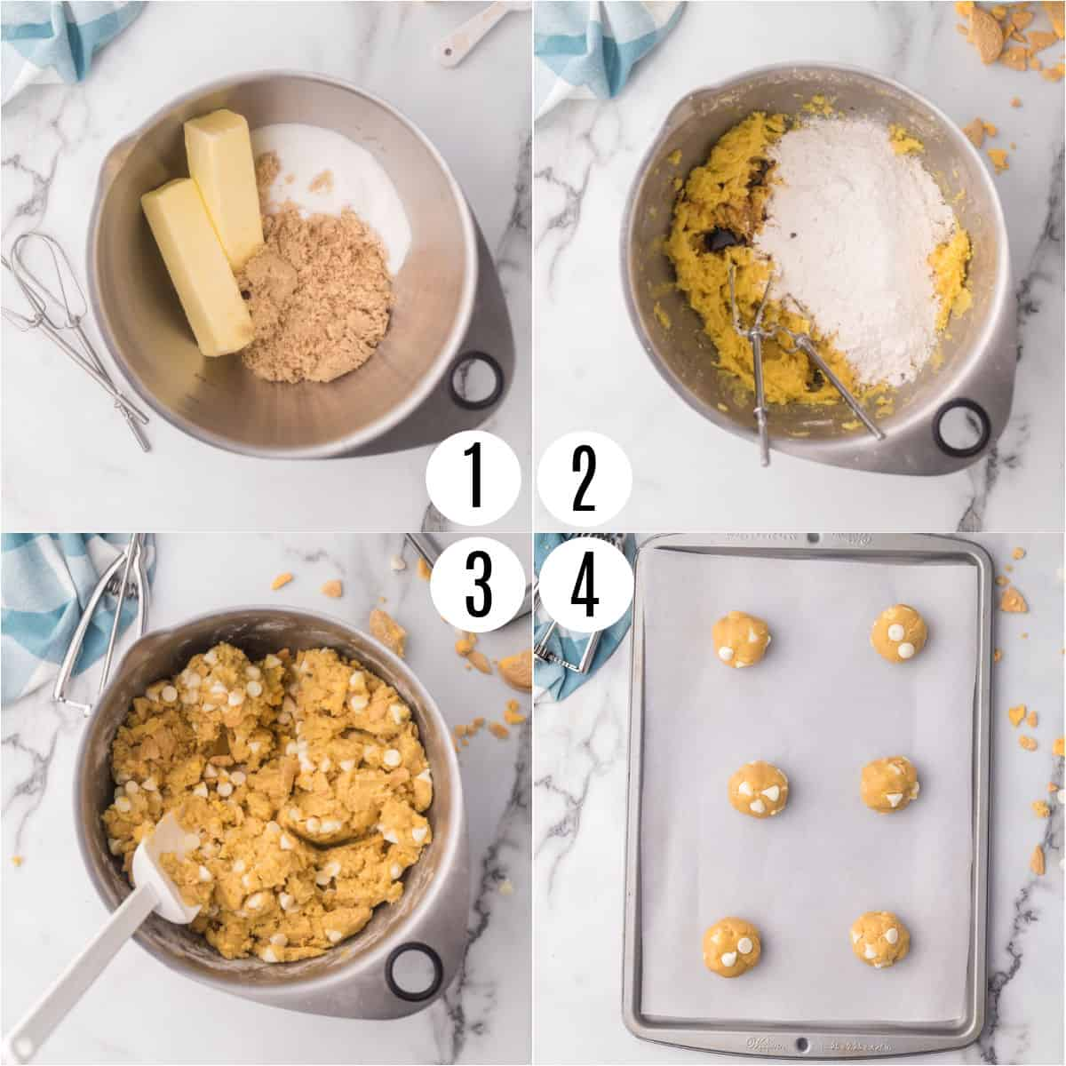 Step by step photos showing how to make lemon crunch cookies.