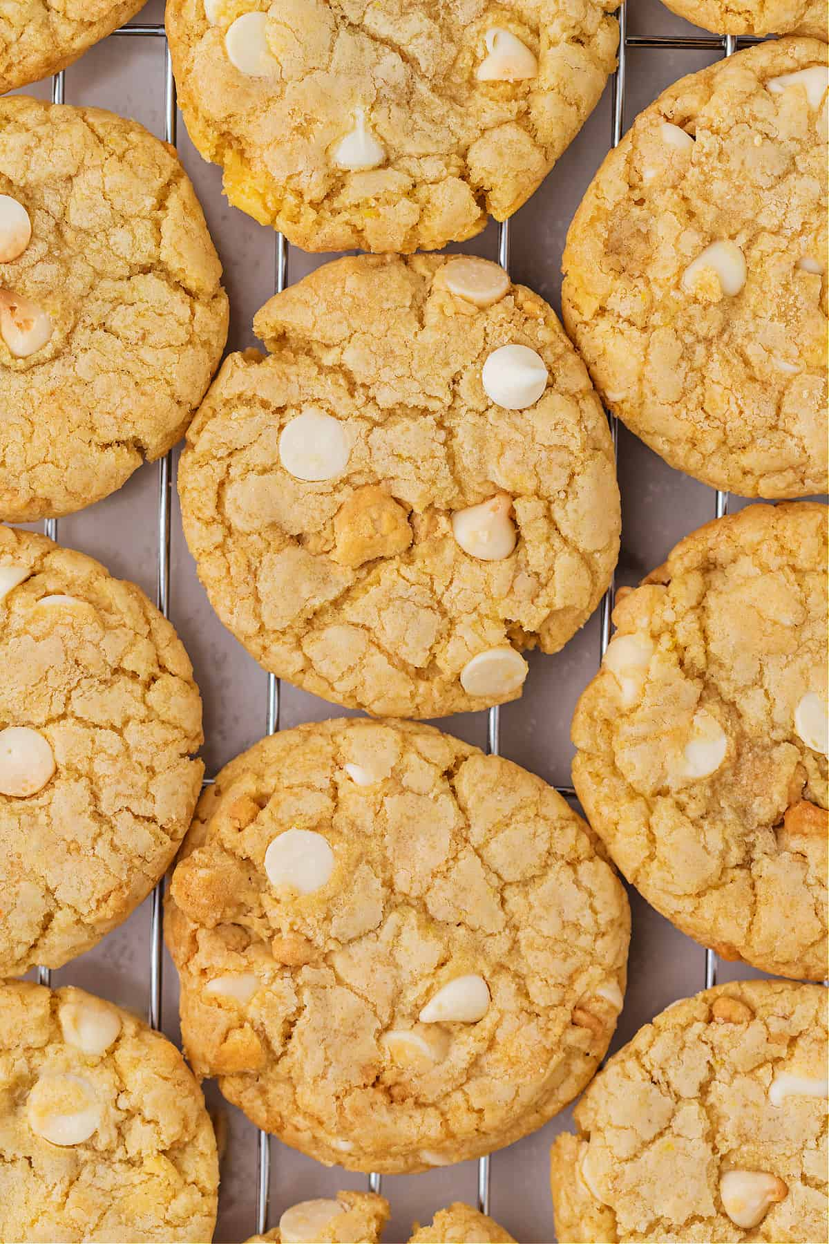 Lemon cookies with pieces of lemon oreos and white chocolate chips.