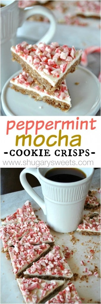 Peppermint Mocha Cookie Crisps- crunch cookie base topped with White chocolate and Andes peppermint #peppermint #fbcookieswap @shugarysweets