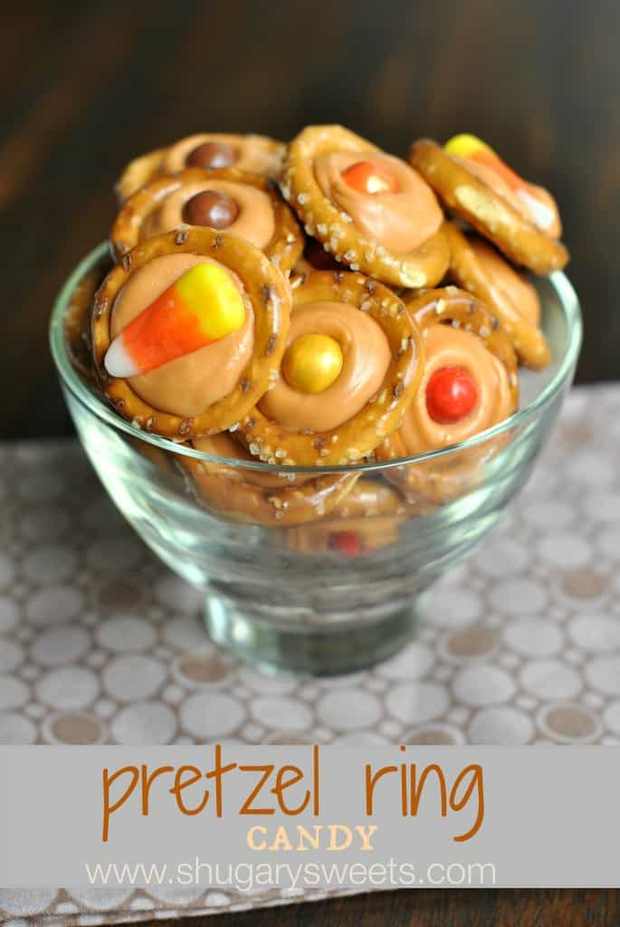 Pretzel Candy with Pumpkin flavored Hershey Kisses and either candy corn or sixlets. YUM