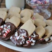 Peppermint Shortbread Cookies- from www.shugarysweets.com sharing at I'll Bring the Cookies on In Katrina's Kitchen