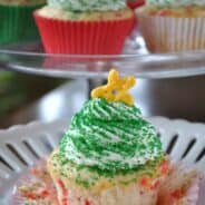 Confetti Cupcakes with Christmas Trees #coolwhipfrosting #christmas www.shugarysweets.com