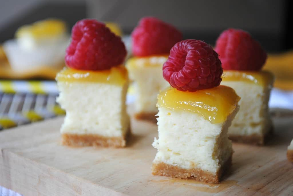 Lemon Raspberry Cheesecake Bites from www.shugarysweets.com