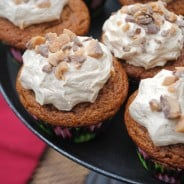 Pumpkin Cupcakes with Maple Toffee Frosting from www.shugarysweets.com