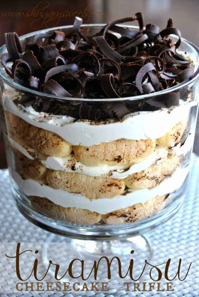 Tiramisu Trifle: a delicious twist on an Italian classic, easy to assemble with gorgeous chocolate curls (and tutorial) #tiramisu #trifle www.shugarysweets.com