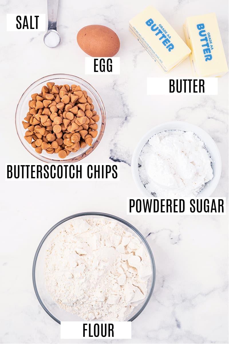 Ingredients needed for butterscotch shortbread cookies.
