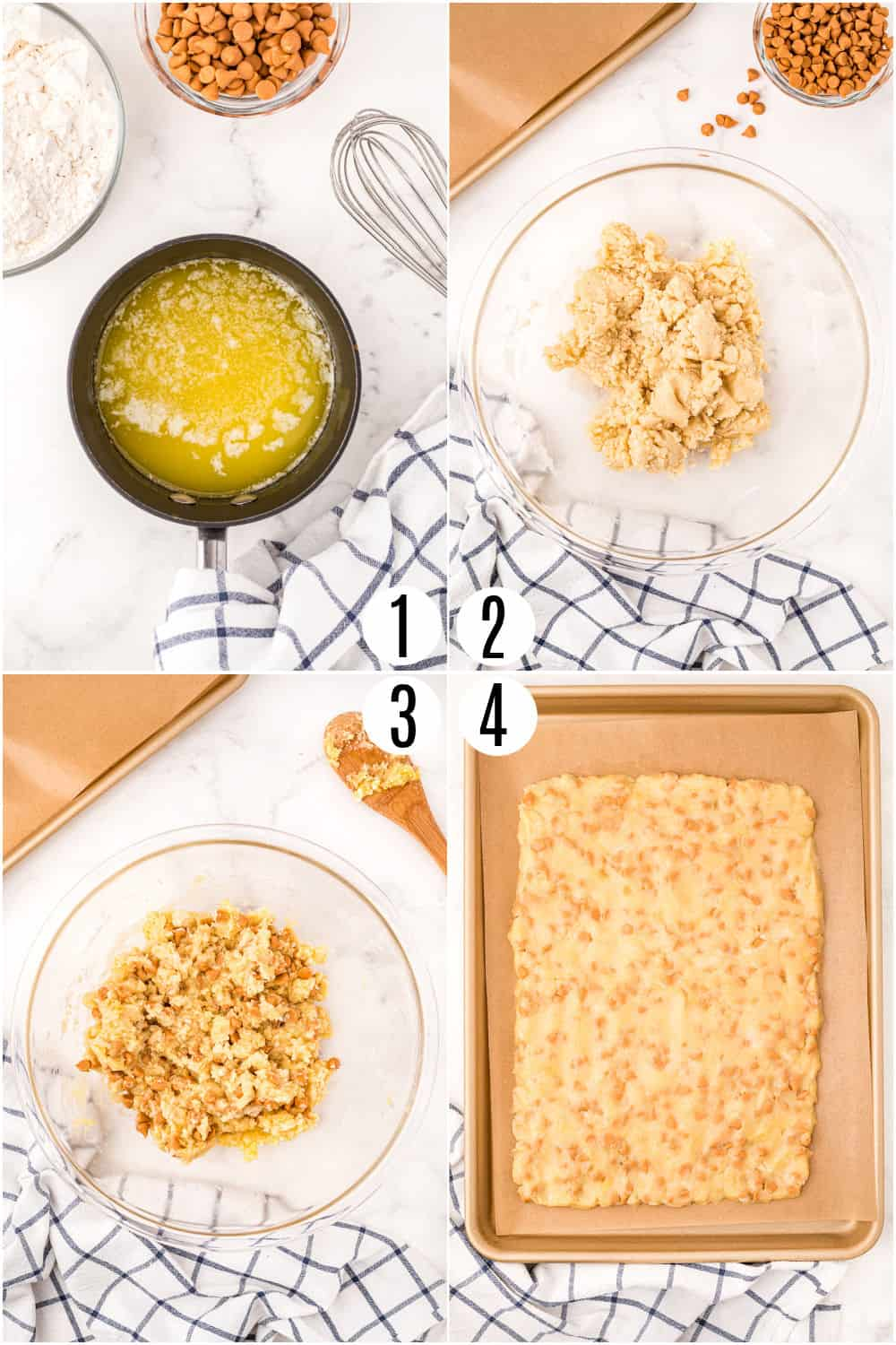 Step by step photos showing how to make butterscotch shortbread cookies.