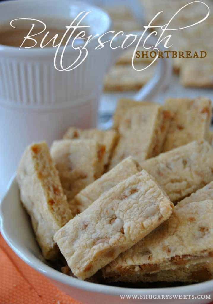 Butterscotch Shortbread Bars: browned butter and butterscotch chips give these classic shortbread cookies BIG flavor! #shortbread #butterscotch www.shugarysweets.com