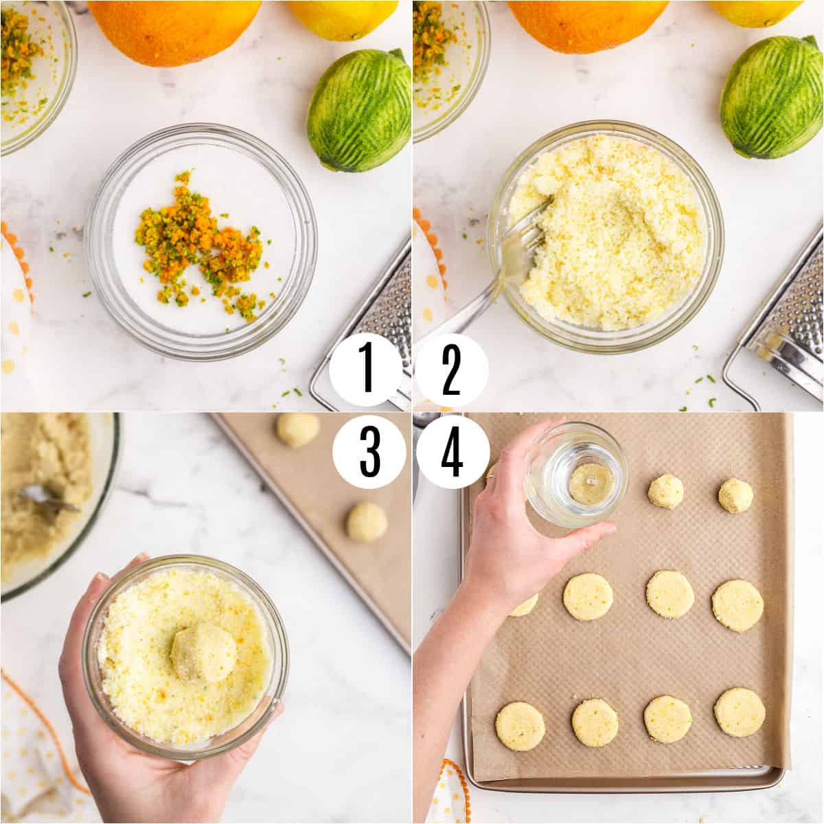 Step by step photos showing how to roll citrus cookies in sugar and zest before baking.
