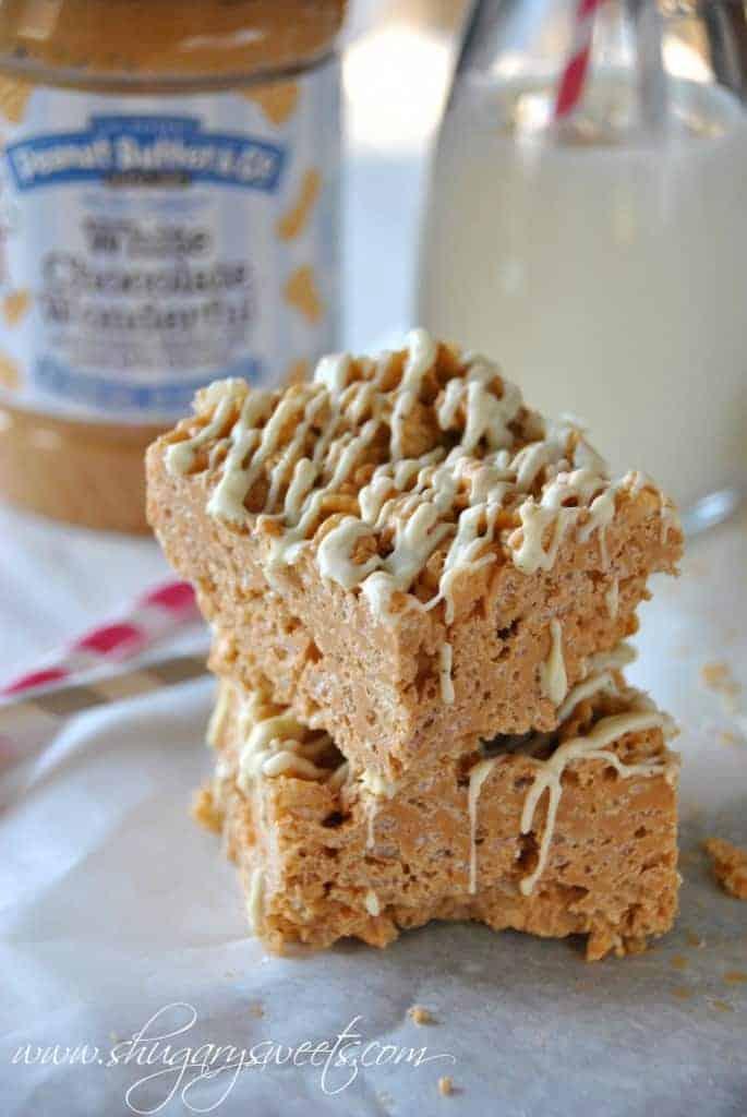 Butterscotch Peanut Butter Krispie Treats: EASY, no bake dessert ready to eat in under 30 minutes. #butterscotch, #peanutbutter #whitechocolatewonderful www.shugarysweets.com