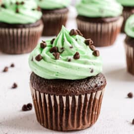 Chocolate cupcake topped with green chocolate mint frosting.