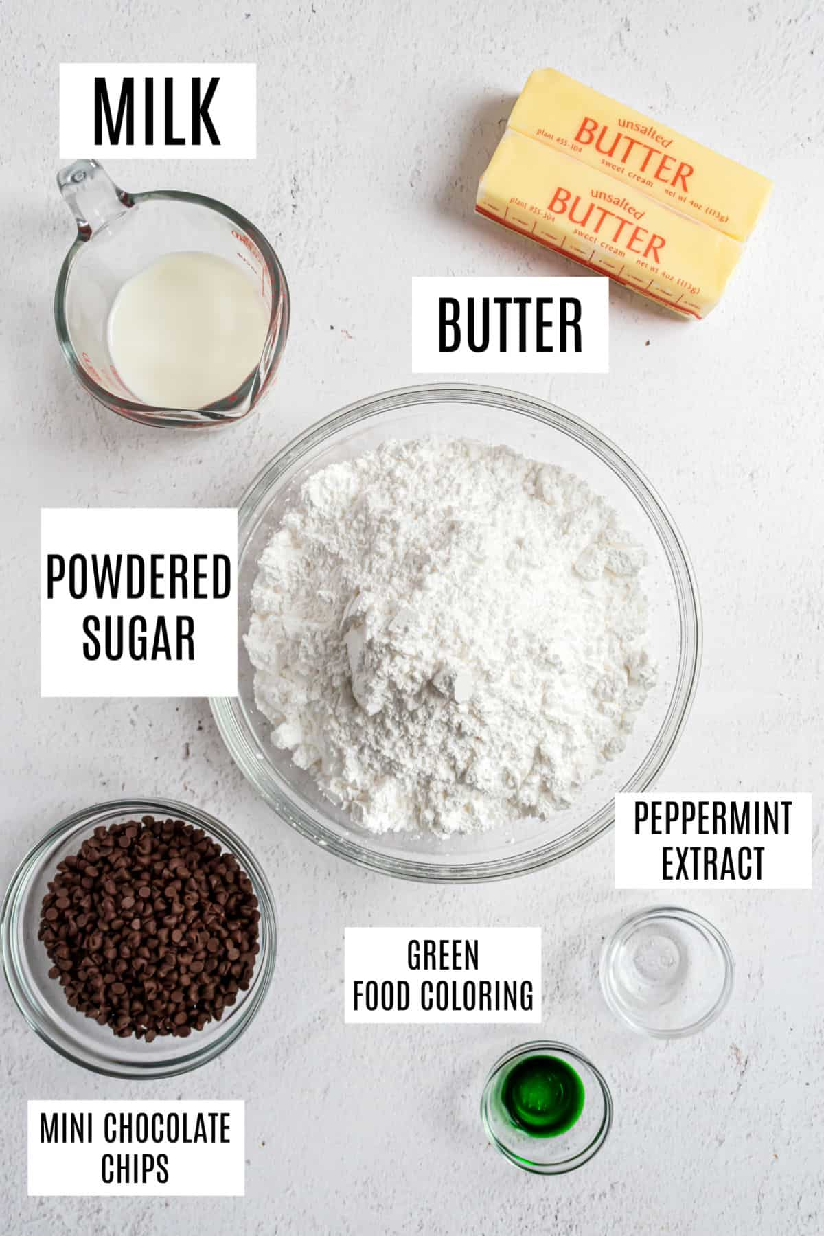 Ingredients needed for mint chocolate chip frosting.