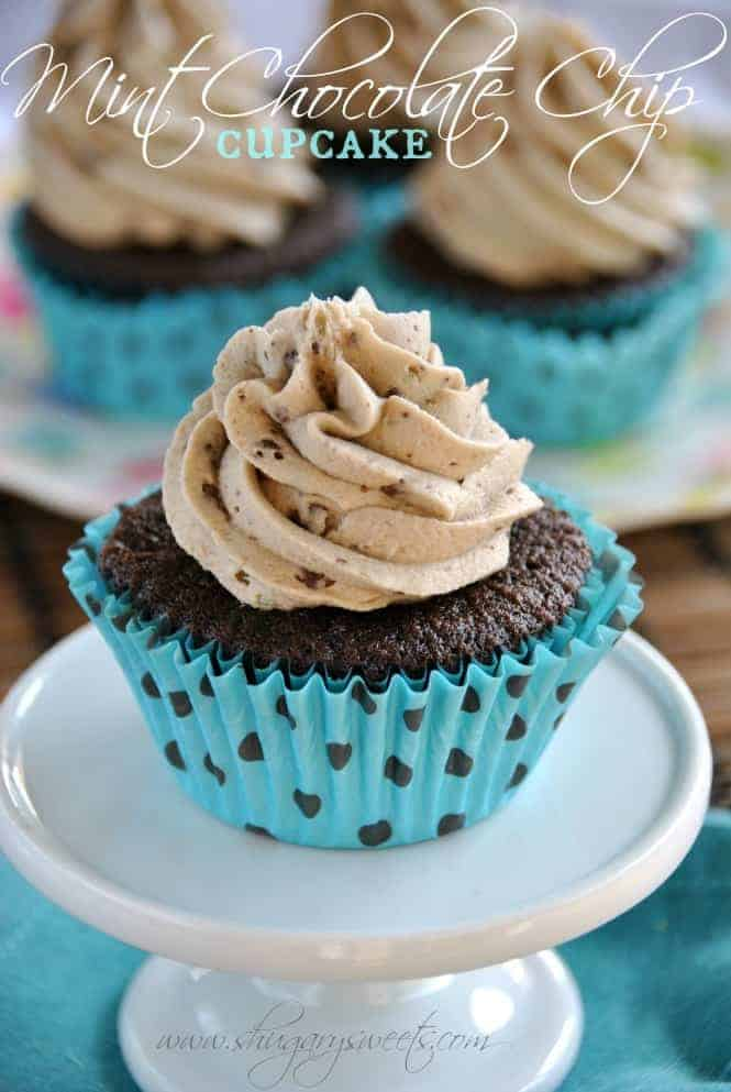 Rich Chocolate Cupcakes topped with a creamy mint chocolate chip frosting!