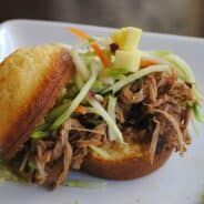 Slow cooker Chipotle Pork with Mango Slaw from www.shugarysweets.com