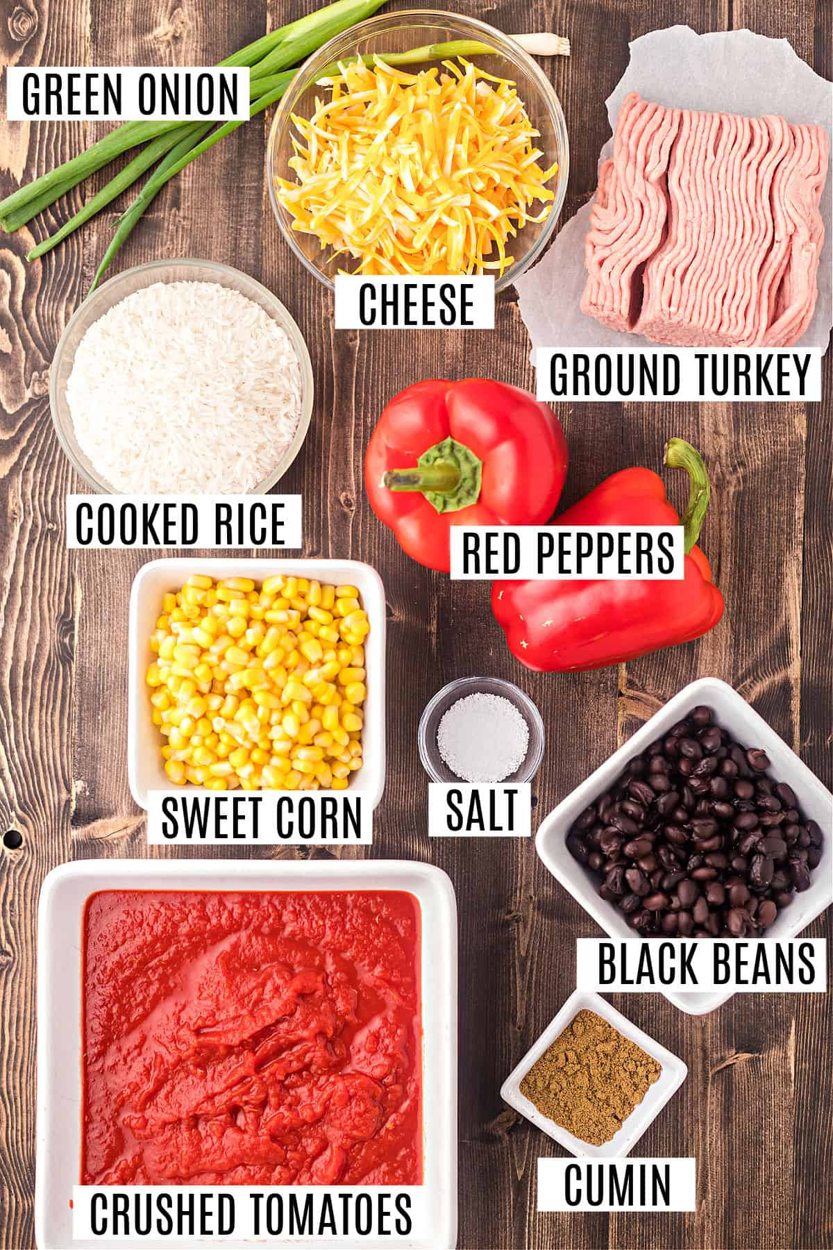 Ingredients needed for santa fe stuffed peppers.