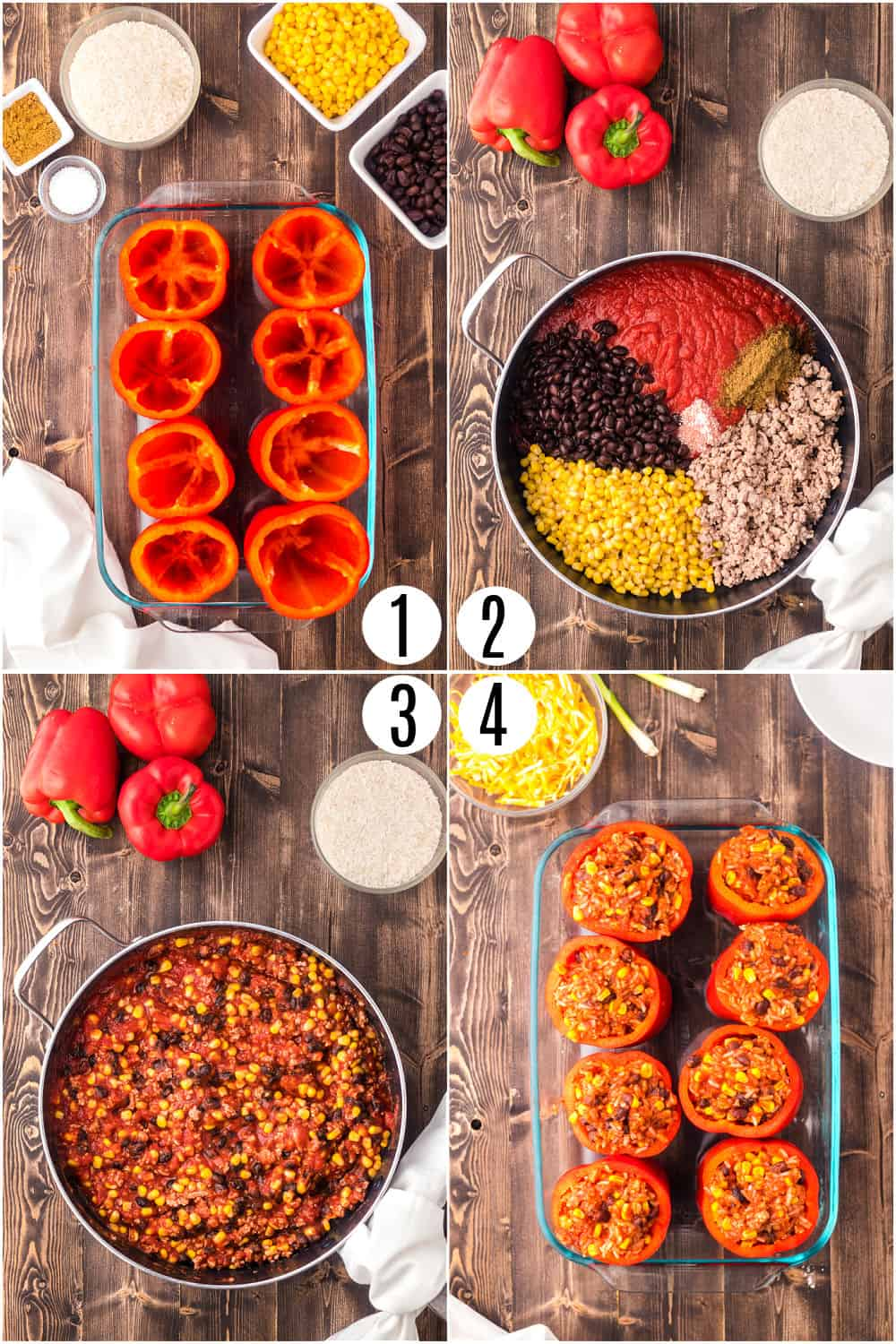Step by step ingredients to make stuffed peppers.