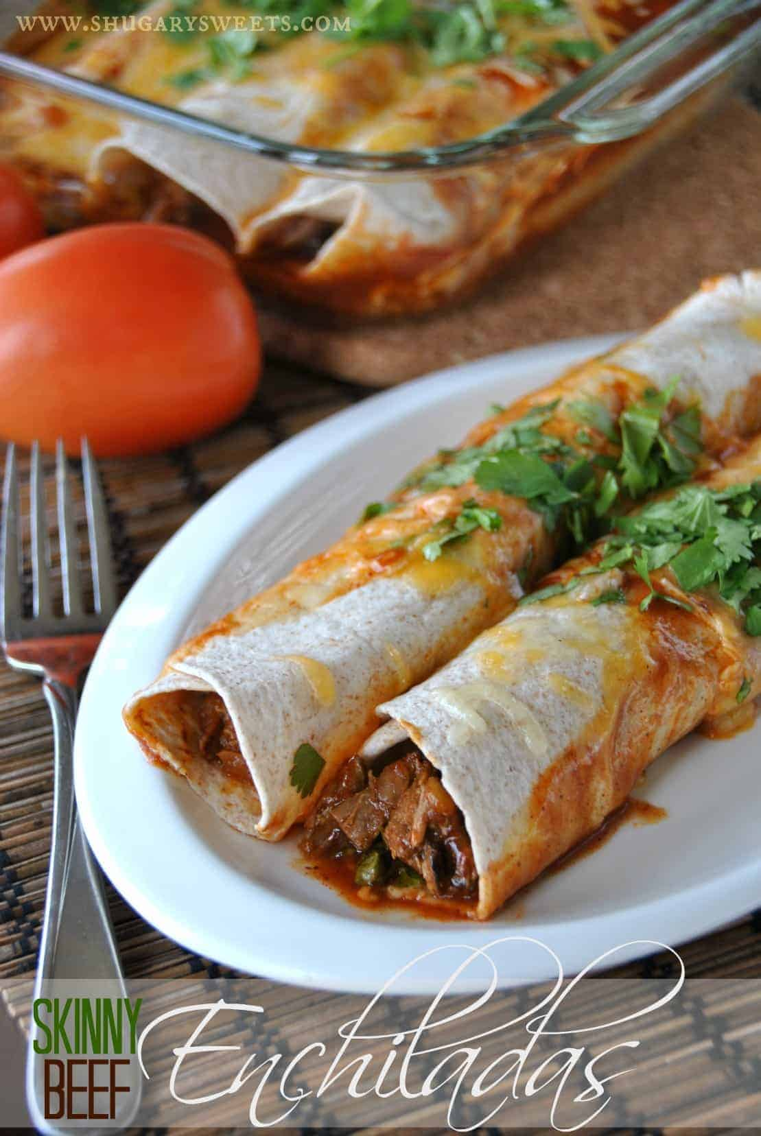 Skinny Slow Cooker Beef Enchiladas: a delicious dinner that makes a ...