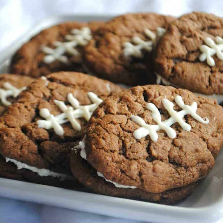 Chocolate Oatmeal Cream Pie Footballs from www.shugarysweets.com