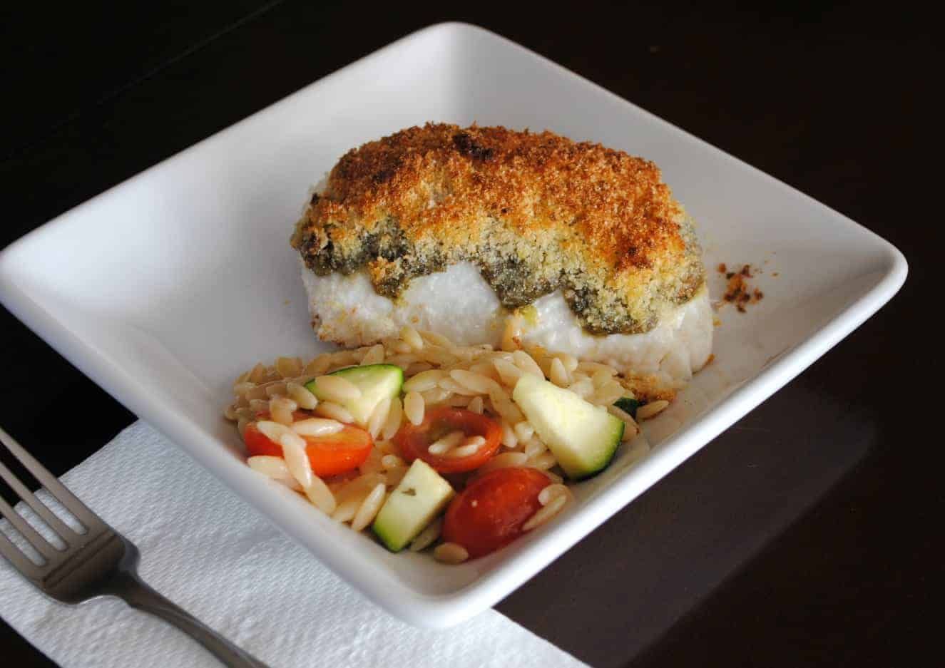 Parmesan Halibut with Tomato and Zucchini Orzo from www.shugarysweets ...
