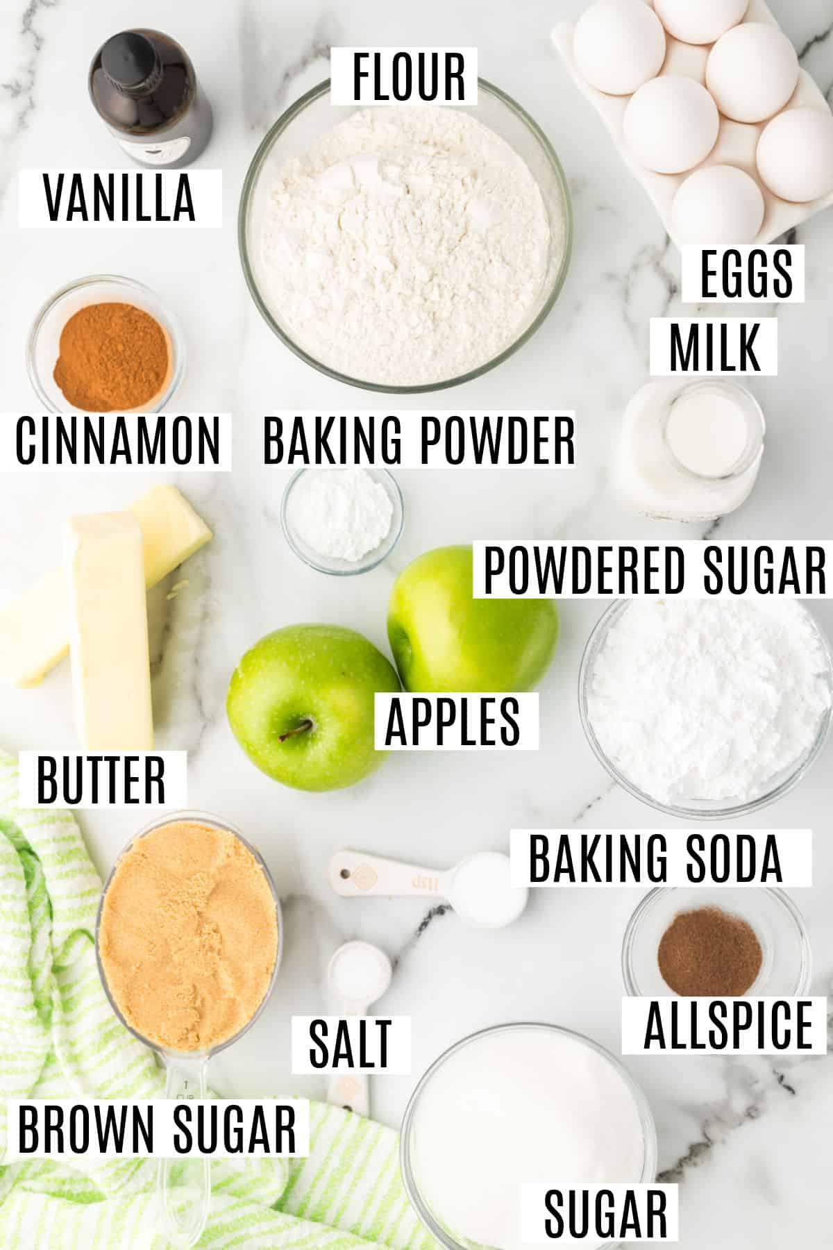 Ingredients needed for apple cake with caramel glaze.