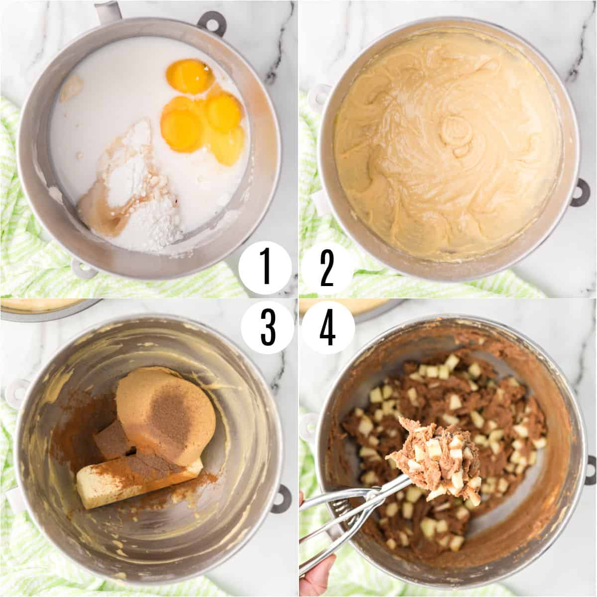 Step by step photos showing how to make apple coffee cake batter.
