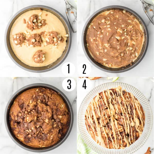 Step by step photos showing how to assemble apple coffee cake with glaze.
