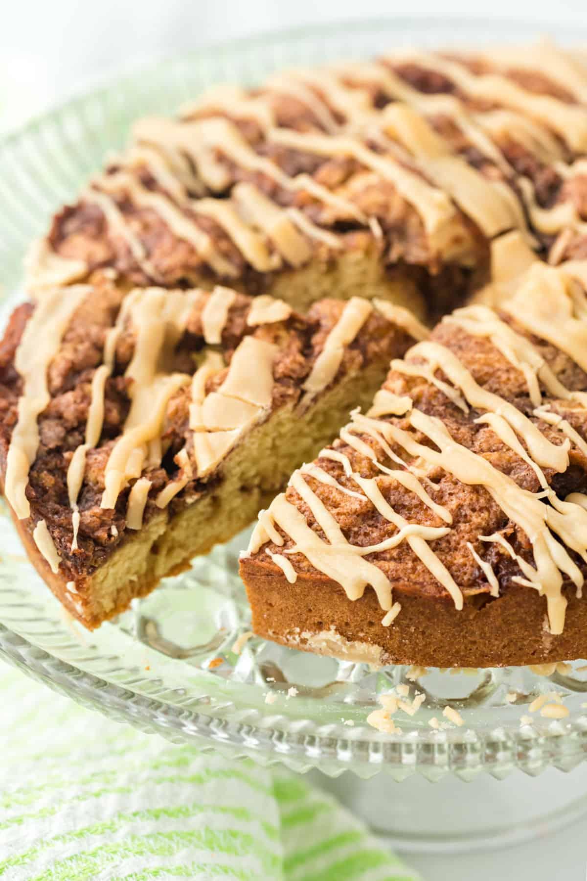 Apple coffee cake with caramel glaze.