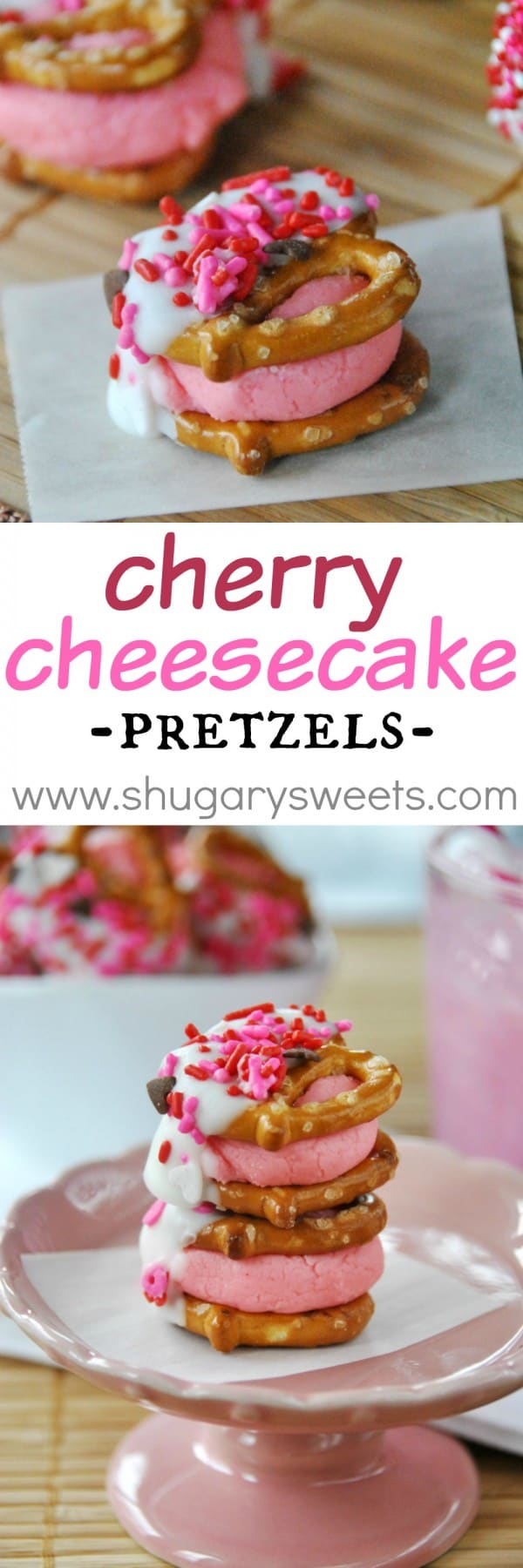 Cherry Cheesecake Pretzel Bites: delicious, easy bite sized treats! The perfect recipe for Valentine's Day or a girls birthday party!