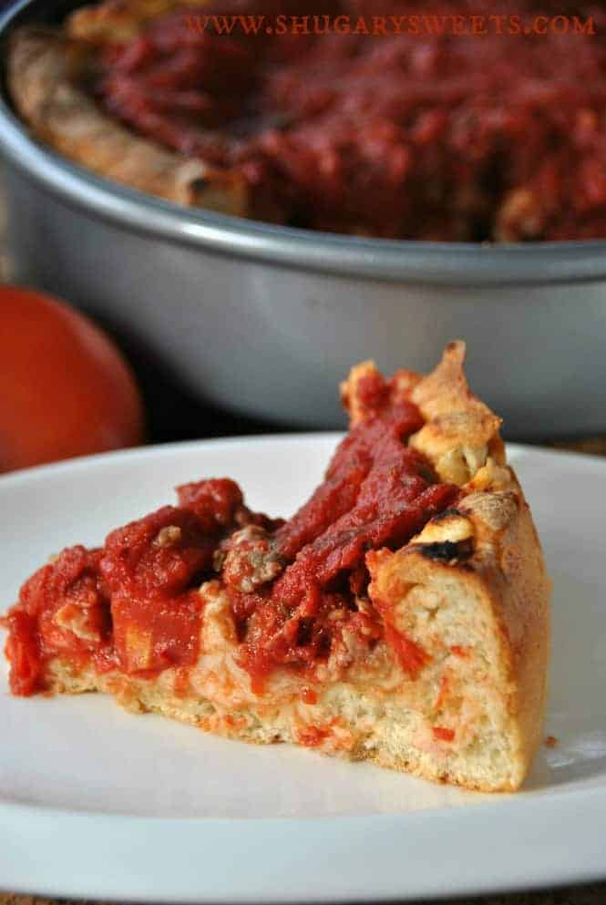 Deep Dish Chicago Style Pizza- make your own deep dish pizza at home! #chicago #deepdishpizza #copycat @shugarysweets