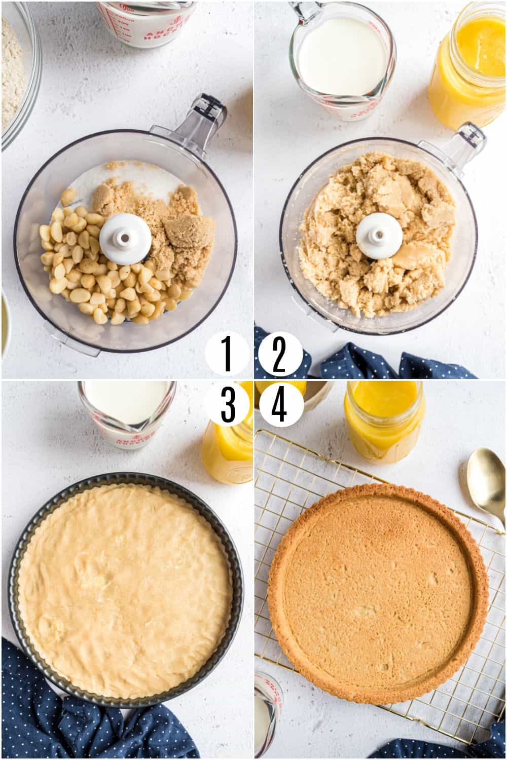 Step by step photos showing how to make a lemon tart crust.