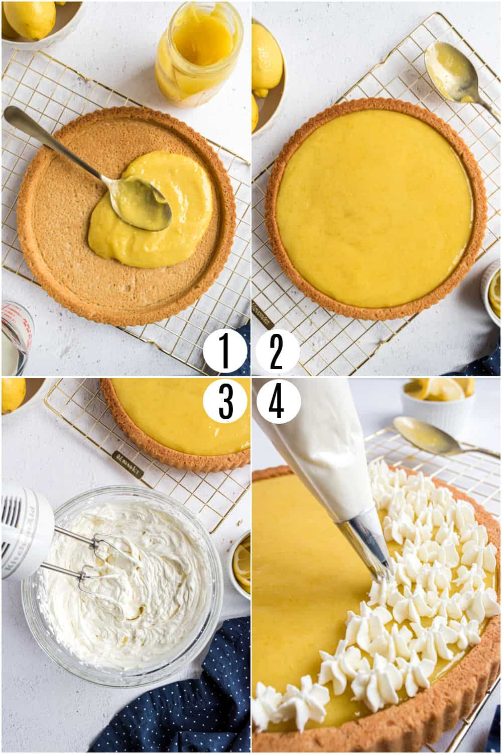Step by step photos showing how to make lemon tart filling and whipped cream.
