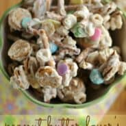 Peanut Butter Lover's Trash Candy: seriously quick and easy treat to serve up for this Spring or #Easter holiday! #reeses #nutterbutter www.shugarysweets.com