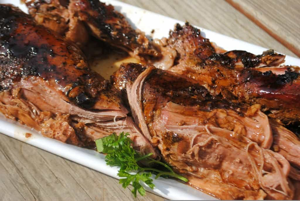 Balsamic Glazed Pork Tenderloin: juicy, fork tender pork tenderloin made in your slow cooker #crockpot #dinner www.shugarysweets.com