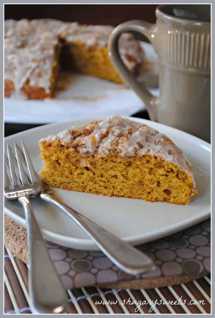 Pumpkin Coffee Cake with Cinnamon Streusel from www.shugarysweets.com