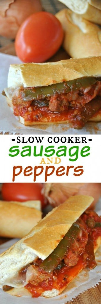 Slow Cooker Sausage and Peppers: delicious, hearty meal made in your #crockpot #dinner