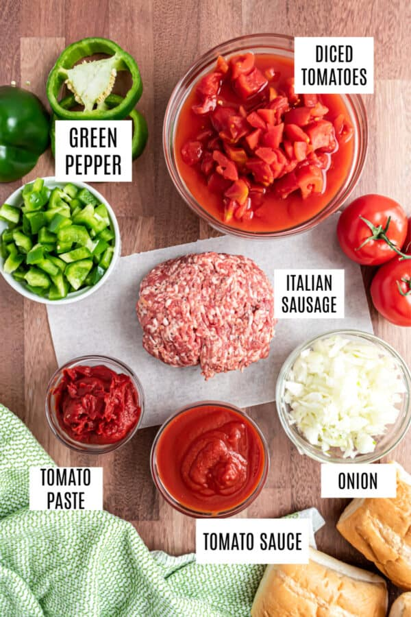 Ingredients needed for slow cooker sausage and peppers.