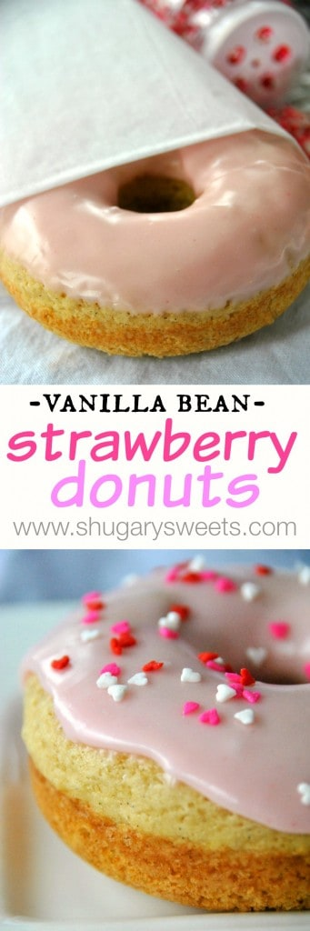 Vanilla Bean Strawberry Glazed Donuts: baked donuts that are ready in under 30 minutes #copycat dunkin donuts #strawberry