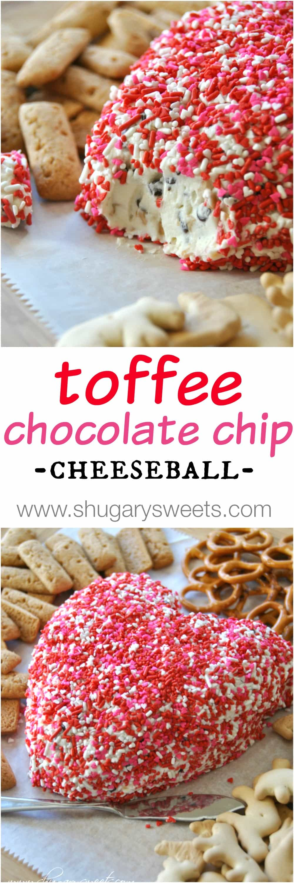 Toffee Chocolate Chip Cheeseball - Shugary Sweets