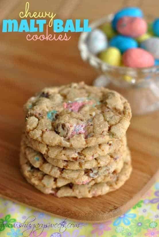 Chewy Malt Ball Cookies