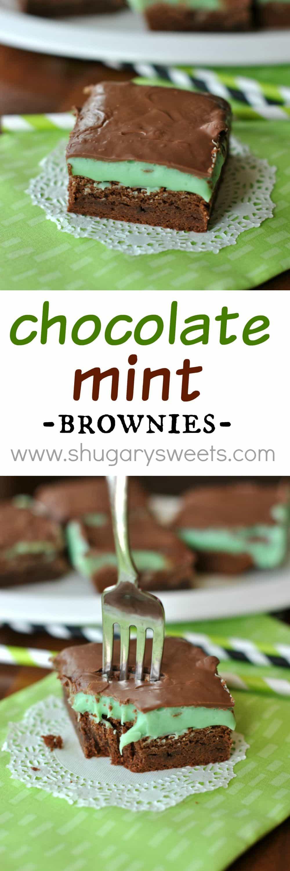 Chocolate Mint Brownies - Shugary Sweets