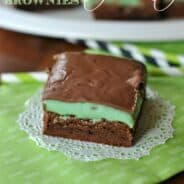 Chocolate Mint Brownies: rich, fudgy brownie base topped with a mint ganache and melted #milkchocolate #stpattysday www.shugarysweets.com