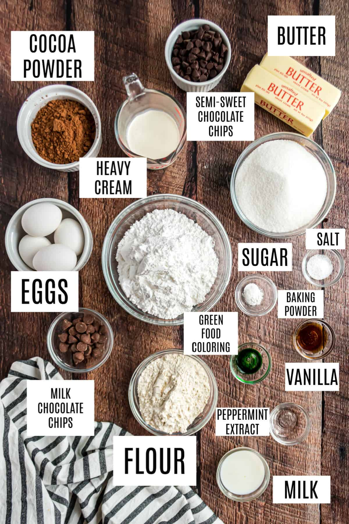 Ingredients need for chocolate mint brownies.