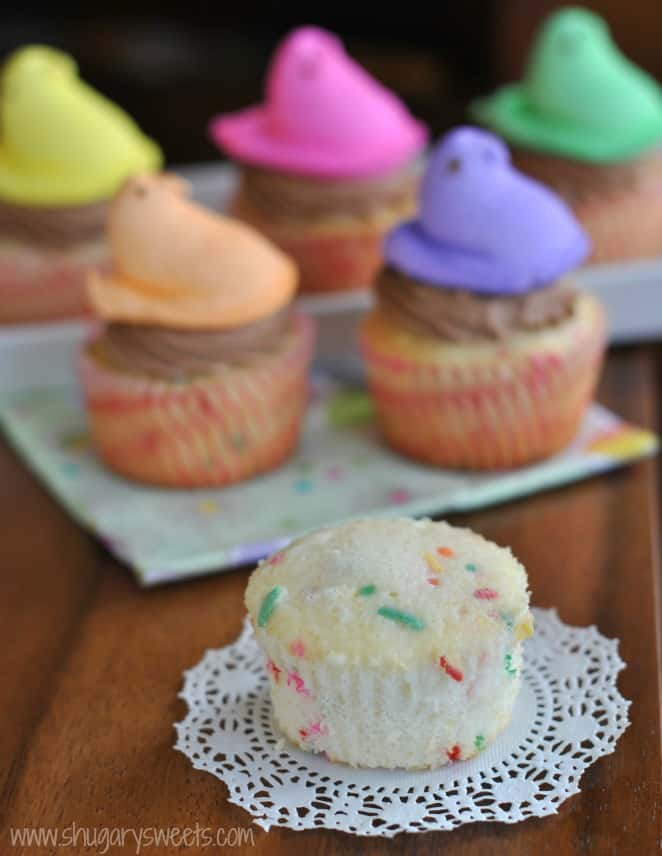 Funfetti Cupcakes with Chocolate Cream Cheese Frosting: the PERFECT, from scratch white cake recipe #cupcakes @shugarysweets