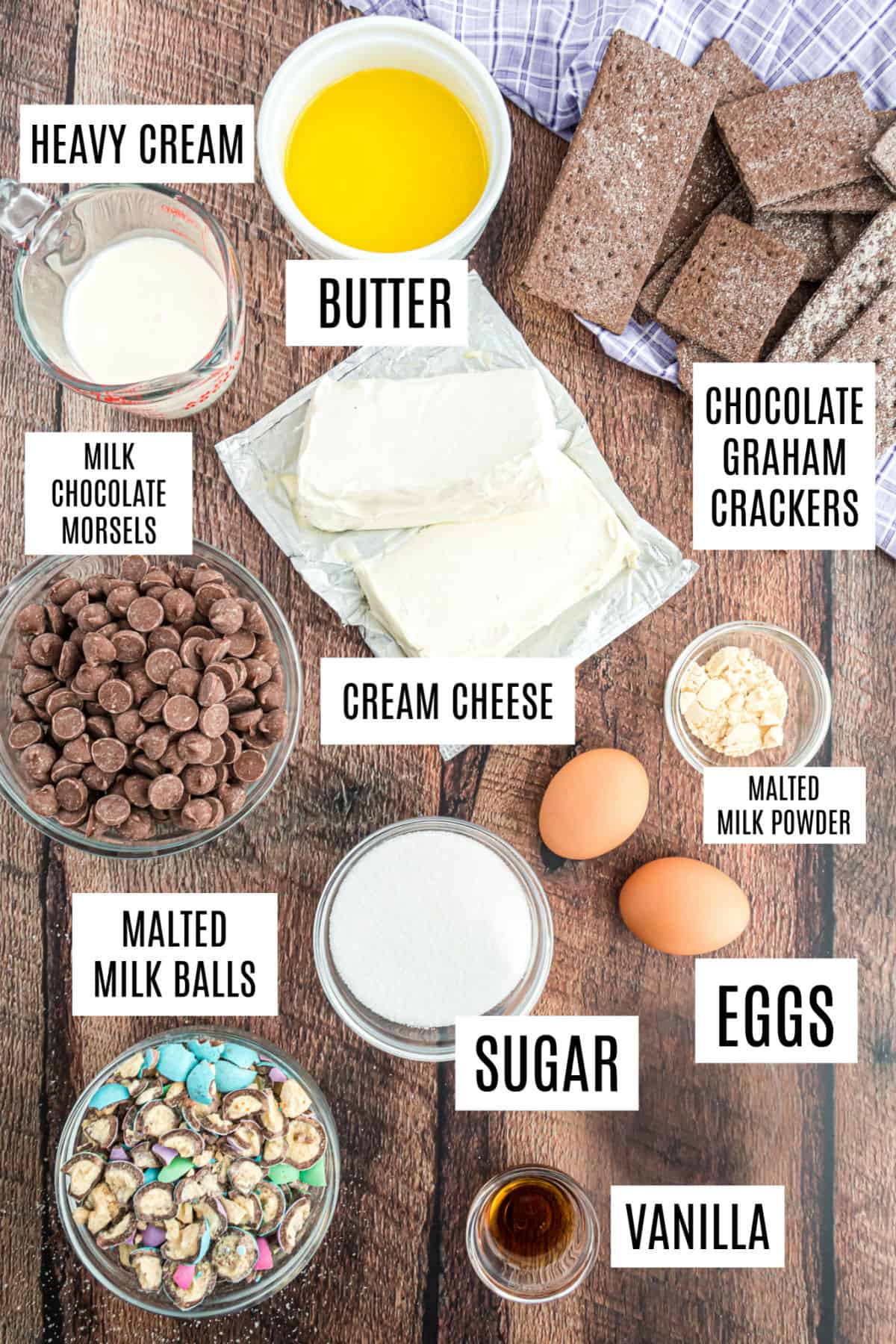 Ingredients needed for mini cheesecakes with candy and ganache.