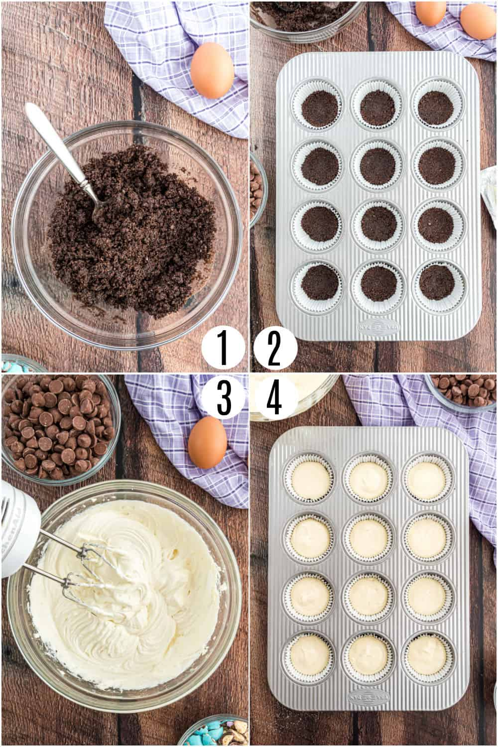 Step by step photos showing how to make mini cheesecakes.