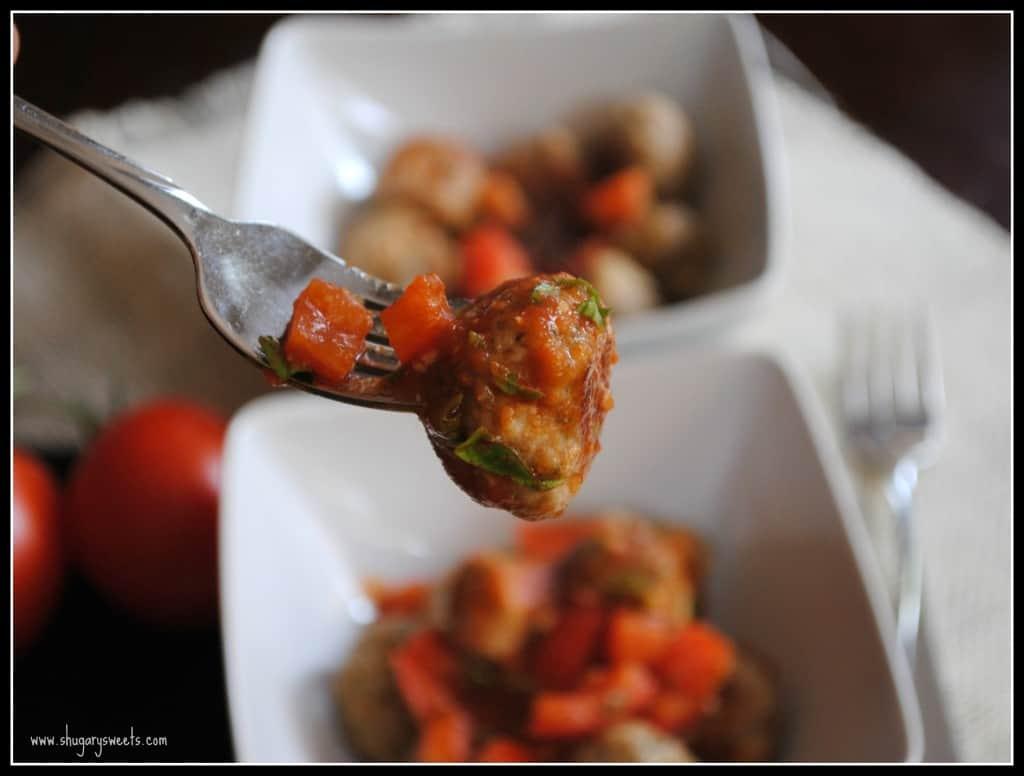 Turkey Meatballs with Bruschetta Sauce from @shugarysweets