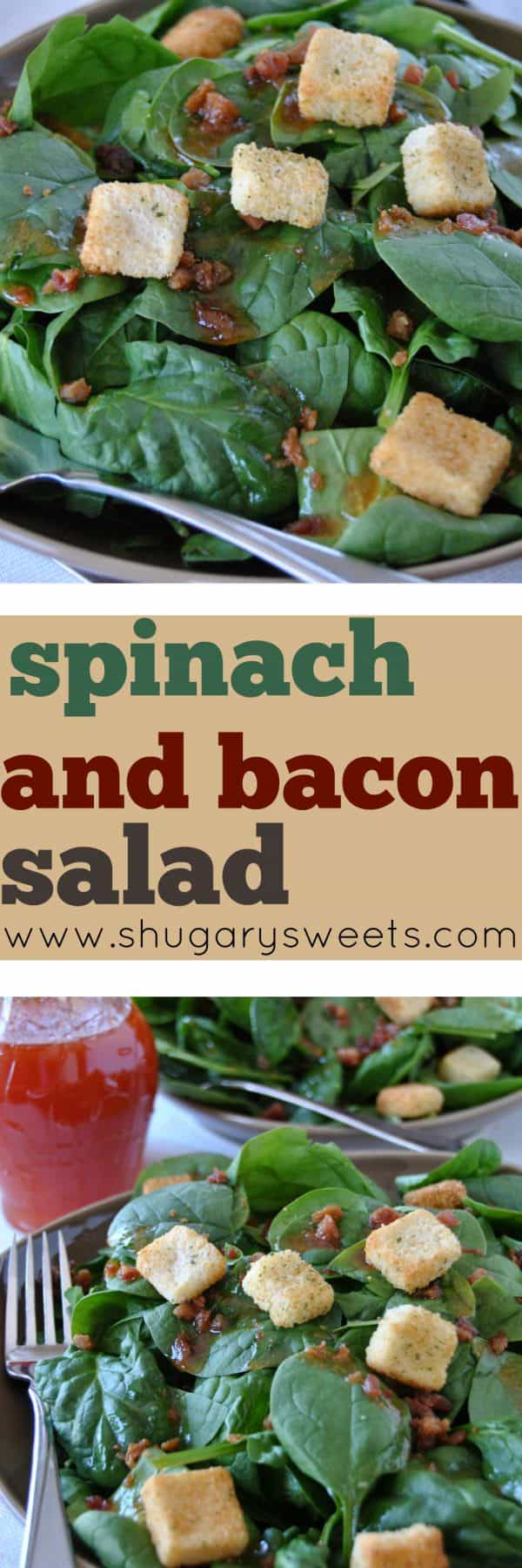 This delicious Spinach and Bacon Salad is a breeze to prepare! The sweet dressing with the salty bacon keeps you wanting more!