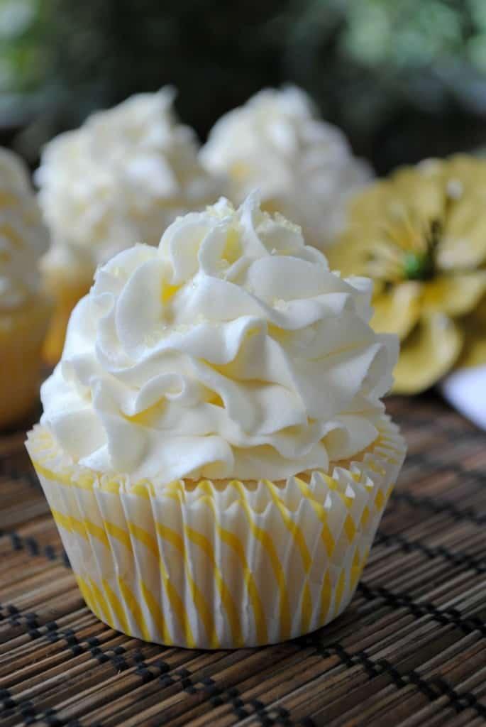 Lemon Cupcakes with Lemon Buttercream from www.shugarysweets.com