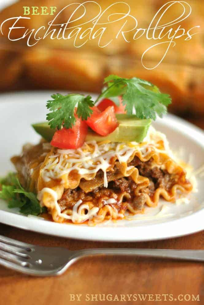 Enchilada Beef Rollups: a delicious dinner that pleases the pasta lovers and mexican food lovers! #cincodemayo