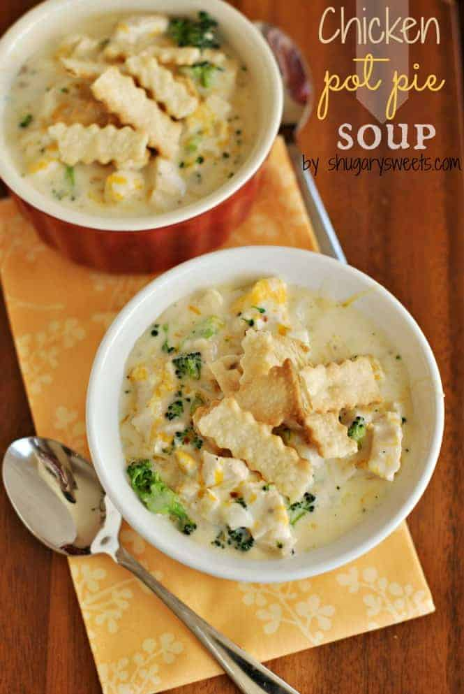 Two bowls of hearty chicken pot pie soup with pie crust dippers